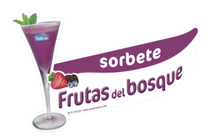 Cartel depositos sorbetes frutas del bosque